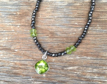 Peridot Necklace - Peridot Jewelry - Peridot Pendant - August Birthstone Jewelry - Hematite Necklace - Hematite Jewelry - Peridot Drop