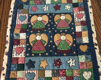 Vintage quilted angel wall hanging. Folk art. Christmas