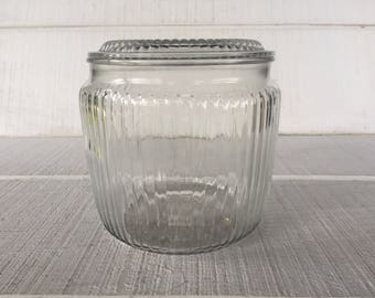 Vintage Beehive Clear Glass Jar W/ Lid, Laundry Room Storage Jar Kitchen  Cookie/