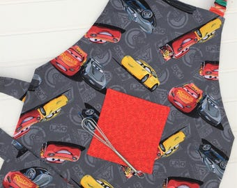 Cars, Boys Apron, Toddler Apron, Cars III, Cars Movie, Child Apron, Kids Apron, Little Chef, Play Kitchen, Reversible Apron, Boys Gift