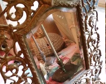 Antique Brass Mirror French Style Victorian