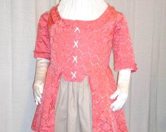 18th Century Lady's Salmon pink Caraco Jacket