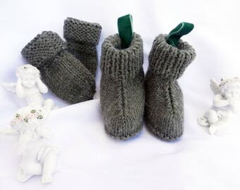 Booties and mittens knit olive green - 6 months baby