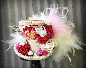 ON SALE Mini Top Hat, Tea Hat, Kentucky Derby hat, Red Rose Tea Cup hat, Mad Hatter Hat, Steampunk Tea Hat, Mad Hatter Tea Party, Pink roses