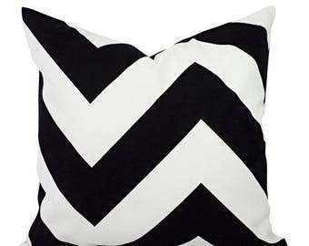 15% OFF SALE Two Large Chevron Decorative Pillows - Black and White Pillows - Black Pillows - Chevron Pillow - Black Pillows - 24 x 24 Inch