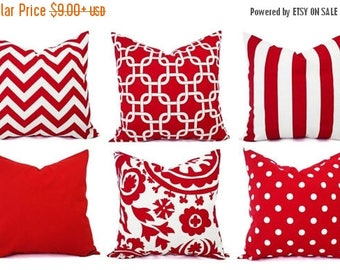 15% OFF SALE One Red Pillow Sham - Red Decorative Pillow - Red Pillow Cover - Red Pillows - Holiday Pillows - Red Pillowcases - Pillow Cover