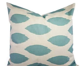 15% OFF SALE Decorative Pillows - Two Spa Blue Ikat Decorative Pillow Covers Light Blue and Beige - Throw Pillow - Accent Pillow 16x16 18x18