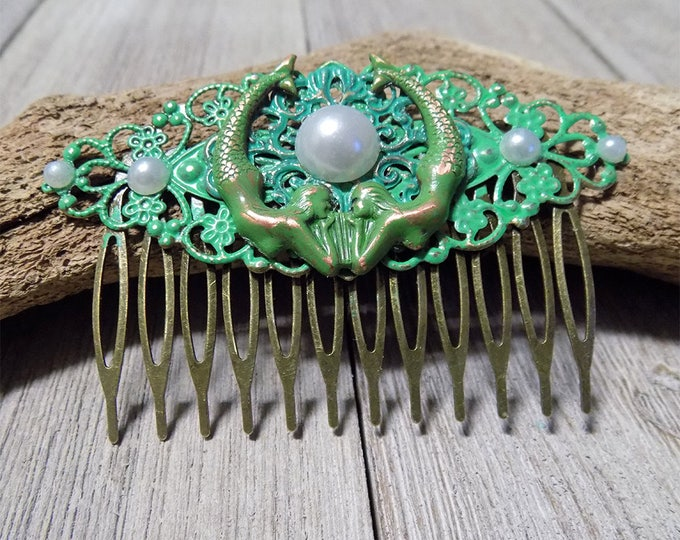 filligree antique bronze hand painted mermaid hair comb