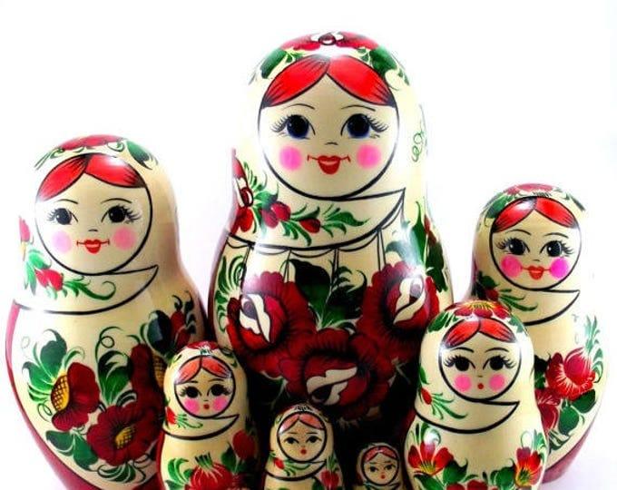 Nesting Dolls 9 pc Russian Matryoshka doll Russian stacking dolls for kids Babushka doll Wooden russian doll Authentic matryoshka Sudarushka