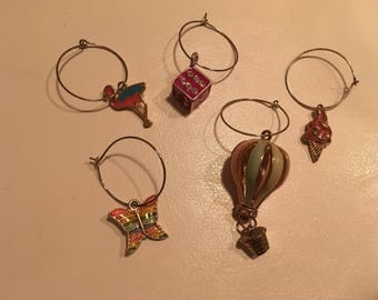 Summer Fun - Set of 5 Wine Glass Charms