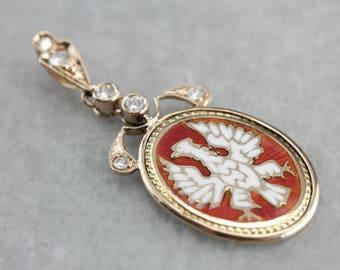 Rising Phoenix, An Antique Enamel, Gold & Diamond Drop Pendant  LEJKQV-R
