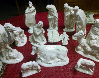 13 pc atlantic mold white ceramic nativity statues