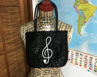 Vintage beaded black evening  bag with Treble Clef