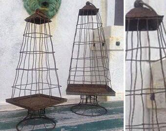 "19"" Large French Farmhouse Style Wire Cloche Display Stand Fixer Upper Garden Decor Square"