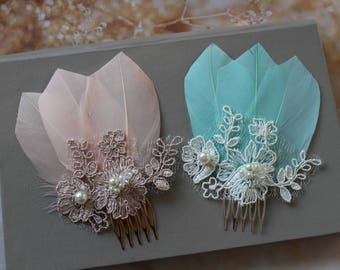 Blush Mint Peacock Feather Hair comb, Peacock headpiece, Bridal Headpiece, Champagne  hair comb, Feather Fascinator, Wedding Headpiece