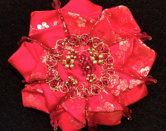 Red & Gold Brocade Brooch