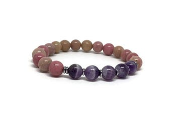 Mala bracelet, Amethyst and Rhodocrosite bracelet, Gemstones bracelet