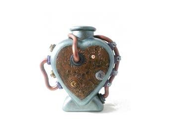 Steampunk Heart Vase, metallic heart, industrial bottle