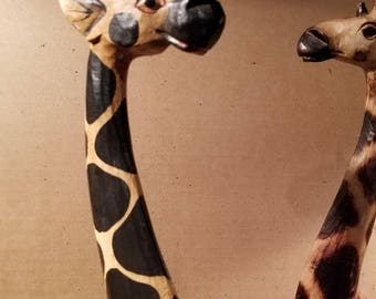 Wood, Handpainted Giraffe, Giraffe Statue, African Home Decor, Giraffe, Carved Decor