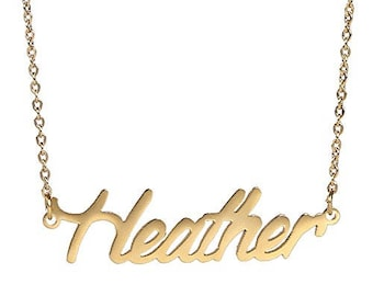 Custom Name Necklace Personalized Initial Necklaces in Golden Silver Heather