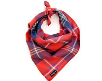 "Bold Red Orange Blue Fall Plaid Dog Bandana Traditional Knot Tie Accessory Small Medium Large ""The Bonfire"""