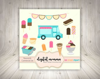 Summer, Ice Cream Truck Clipart Set, Ice Cream Treats, .PNG, Instant Download!