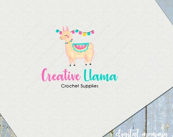 Premade Llama Logo Design, Knitting, Crochet Logo, Children's Logo, Llama Marketing, Branding