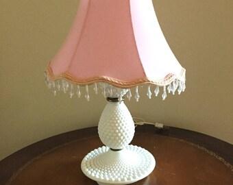 hobnail milk glass lamp vintage milk glass boudoir table lamp nursery table lamp