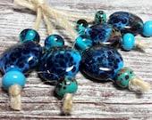 Lampwork glass beads handmade Beads supplies jewelry Beads for jewelry making Set beads  SRA Murano Beads turquoise, black, blue.