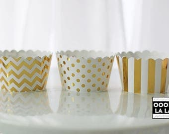 Set of 6 -MADE TO ORDER Patterned Foiled Cupcake Wrappers/Holders