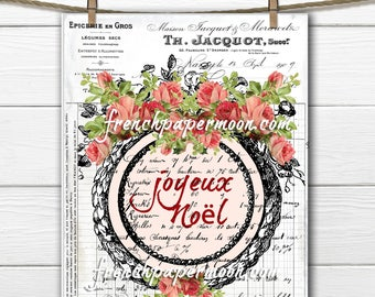 Shabby Digital French Rose Christmas Graphic, French decor, French Pillow Image, Fabric transfer, Printable Graphic , Xmas Crafts