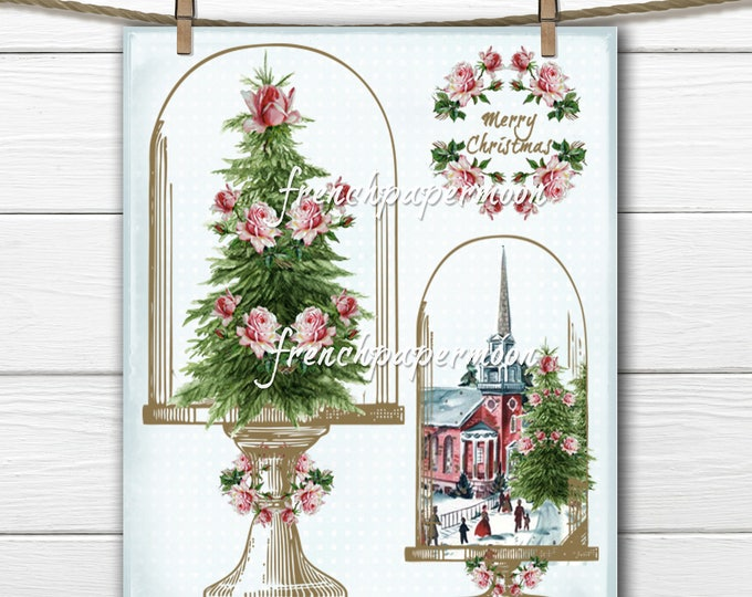 Shabby Vintage Christmas, Cloche, Christmas Trees, Roses, Printable Graphic Transfer Image 0102