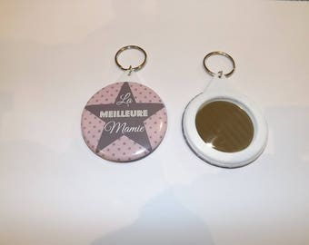 "mirror keychain ""best Grandma"" pink background and star patterns"