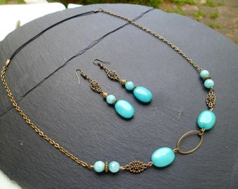 "headband set / Headband ""LAGOON"" and earrings"