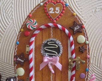 christmas decoration realistic gingerbread biscuit style elf door with clay embellishments