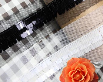 black and white  Beading Lace Trim   for wedding dress Bags Collars Pockets Headwears  - 90cm (2cm Width) YSFL45