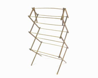 Vintage Wooden Folding Drying Rack, Clothes Drying Rack, Portable Wood Drying  Rack, Tall