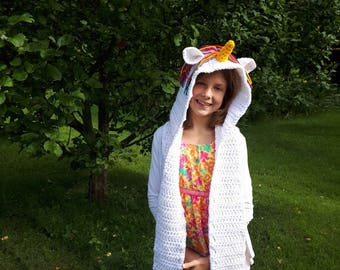 hooded scarf pattern, unicorn hooded scarf, crochet pattern