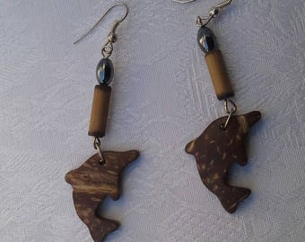Earrings coco Dolphin beads hematite and bamboo