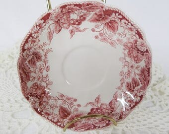 Johnson Brothers Strawberry Fair Saucer Made in England Red Pink Strawberries Pink Transferware
