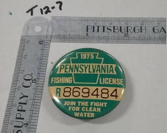 10% OFF 3 day sale Vintage  used 1975 Pennsylvania fishing license
