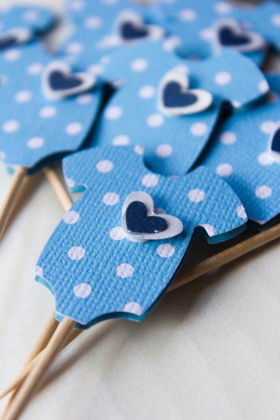 24 Blue Baby Shower Cupcake Toppers - Cupcake Toppers - Baby Boy - Polka Dot - Cupcake Topper - Onesies - Heart - Baby Shower - Topper