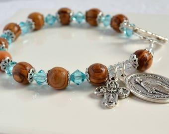 Rosary Bracelet/ Blessed Mother Bracelet/Catholic Jewlery/Catholic Bracelet/Olive Wood Bracelet/Religious Medal/Swarovski Bracelet