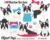 Boston Terrier Clipart, Dog Graphics, Puppy Clip Art, Instant Download