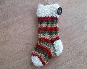 Mini stocking decoration ornament red, green, gold with white