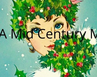 Digital Image Download Vintage Christmas Greeting Card Holiday Retro Lady Holly & Berries Winter Muff Mod Mid Century 1960's 1950's