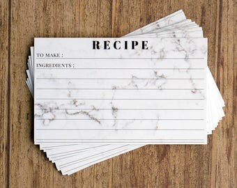 Recipe Cards - 3x5 Marble Recipe Card - Bridal Shower Wedding Favor - Gift For Her - Housewarming - Mom Gift - Pack of 30