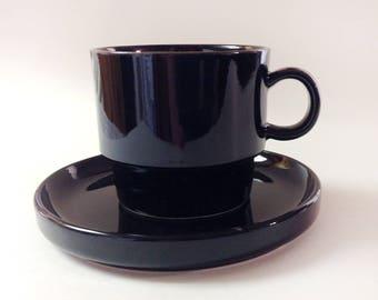 Trend Pacific Bauhaus Black Stoneware Mug And Saucer Set, Vintage Black Stoneware Cup, Saucer, Japan