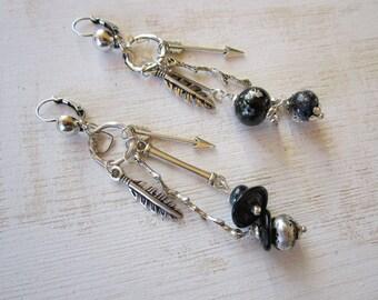 Bohemian asymmetrical earrings, Lampwork spun beads, black, silver