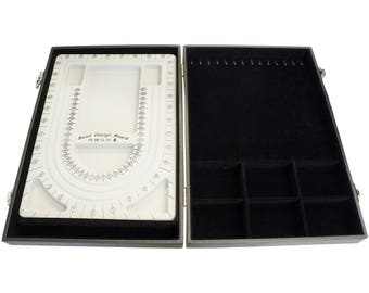 Beading Board in a Case Box with Bracelet Necklace Holder and 6 Compartments for Storage